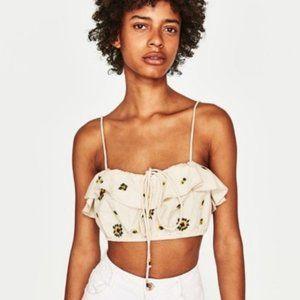Zara | TRF Embroidered Linen Floral Crop Top